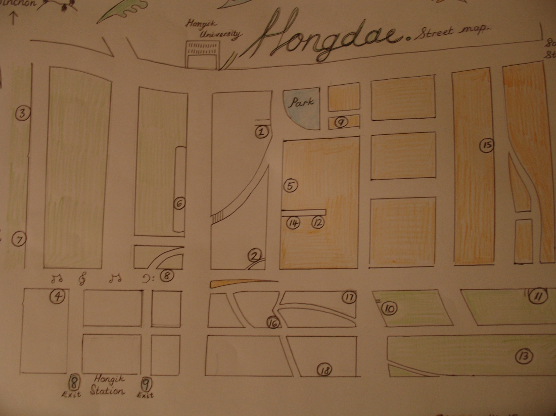 map of Hongdae hand-drawn