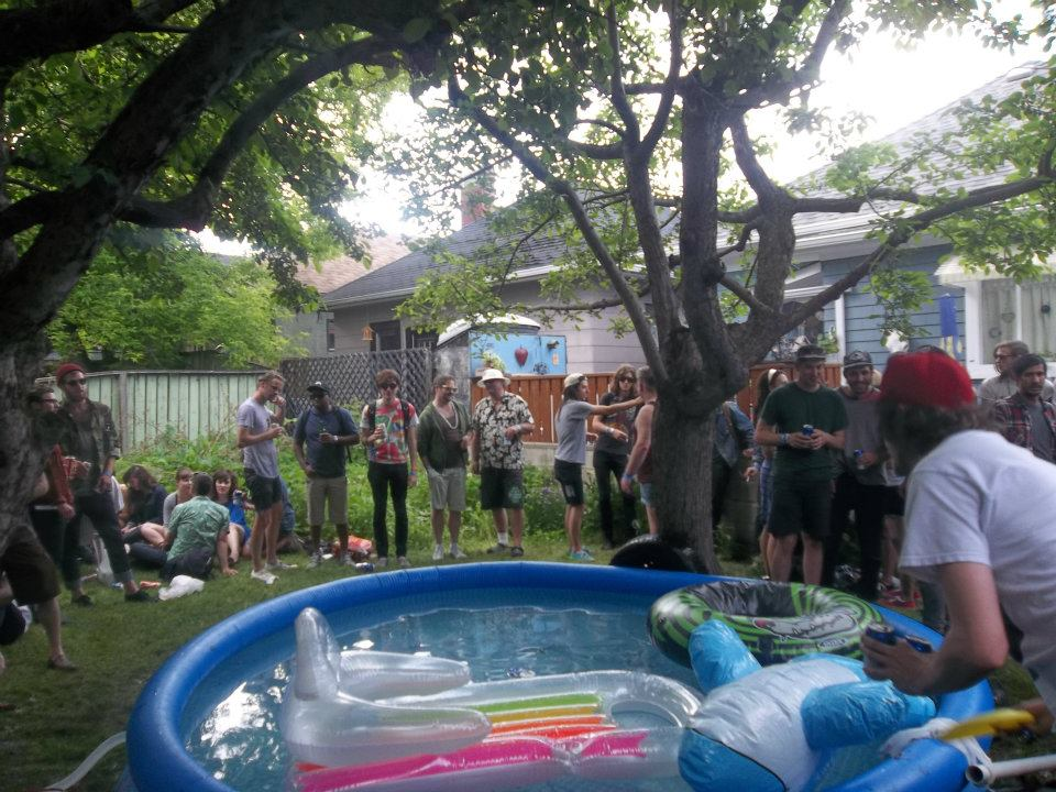 Back yard hipster party