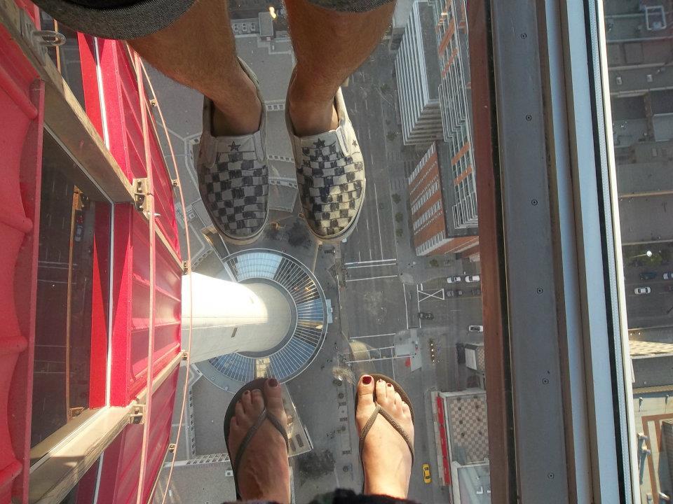 Feet up Calgary Tower
