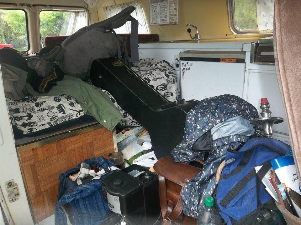 Inside a hippie van