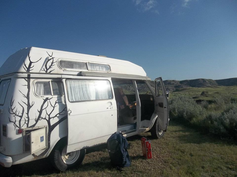 Backpacker van in the Badlands of Alberta, Canada